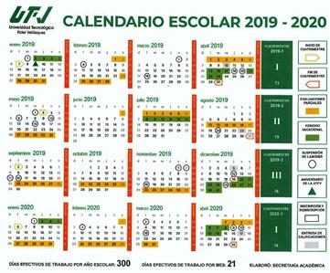 Calendario De Hacienda 2020.Calendario Escolar Universidad Tecnologica Fidel Velazquez
